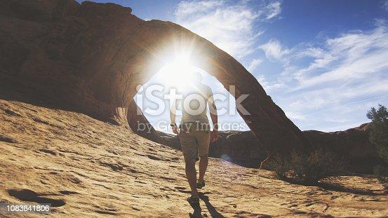 Hiking in the Colorado plateau: Corona arch near Moab