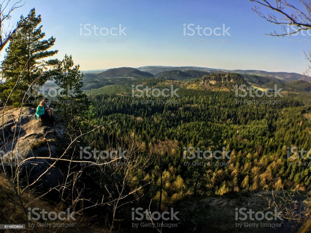 Hiking in the german Elbe Sandstone Mountains. royalty-free stock photo