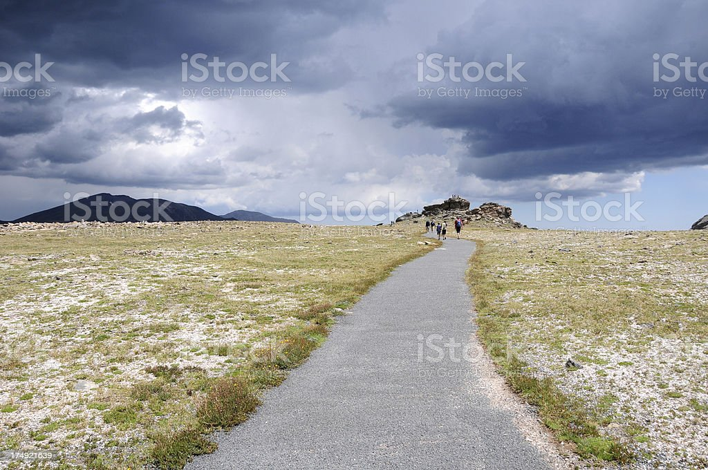 Hiking in the high country, of Rocky Mountains National Park stock photo