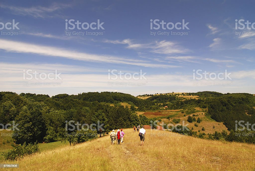 hiking in the mountain royalty free stockfoto