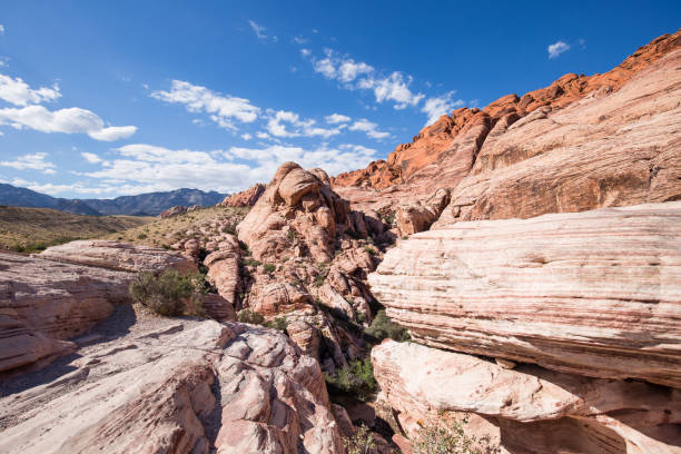 Hiking in the Red Rock Canyon National Conservation Area stock photo