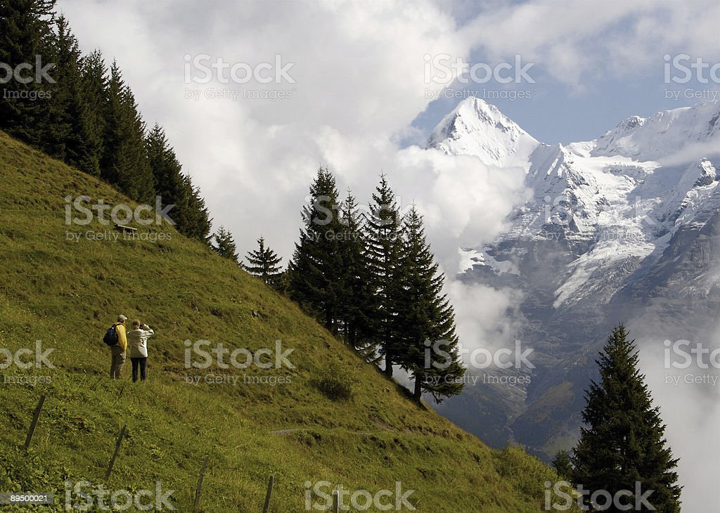 Hiking in the Swiss Alps Looking at Monch Mountain royaltyfri bildbanksbilder