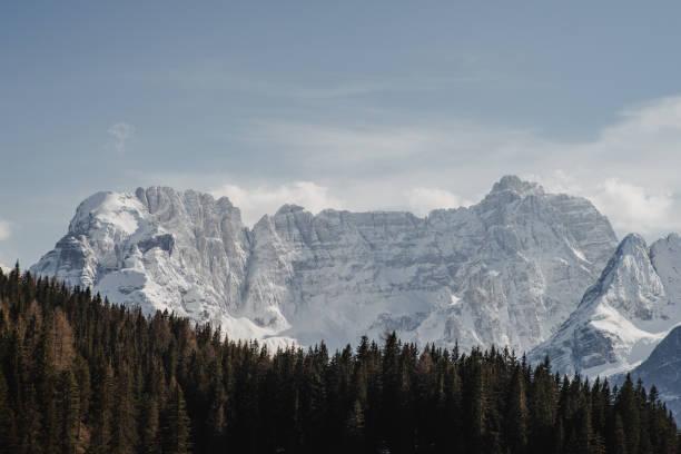 Hiking in the white Dolomites stock photo