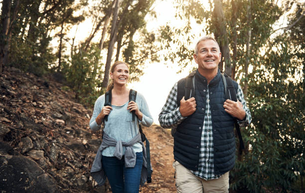 Hiking keeps the heart young stock photo