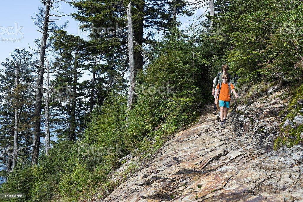 Hiking kids in the Great Smoky Mountains National Park stock photo