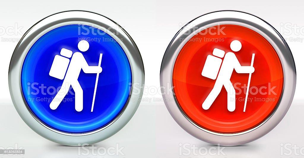 Hiking Man Icon on Button with Metallic Rim stock photo