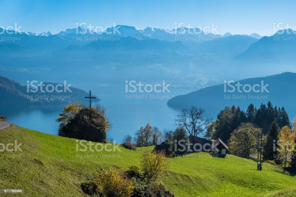 Hiking Mount Rigi from Weggis (The Mark Twain Trail), Switzerland stock photo