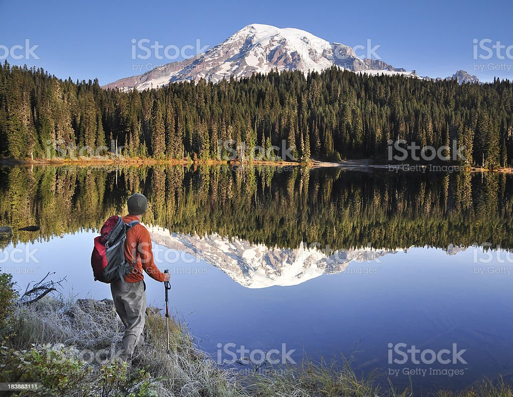 Hiking Mt. Rainier stock photo