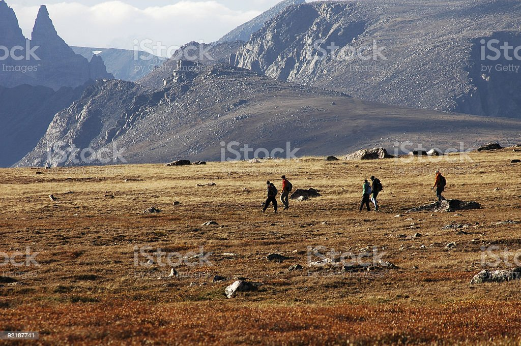Hiking near the Beartooth Hwy stock photo