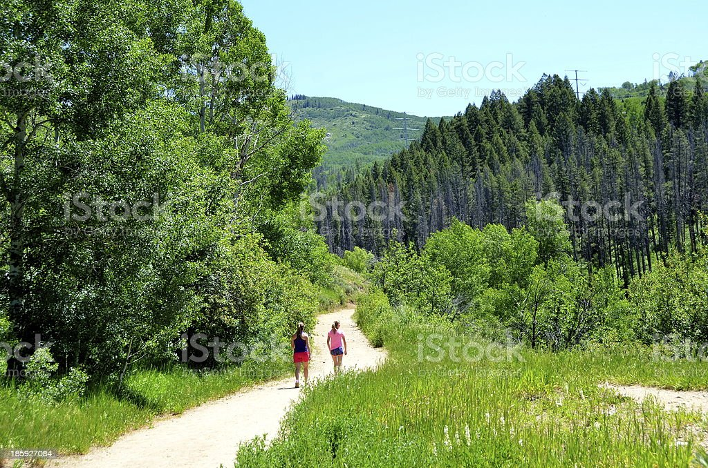 Hiking on a Mountain Trail royalty-free stock photo