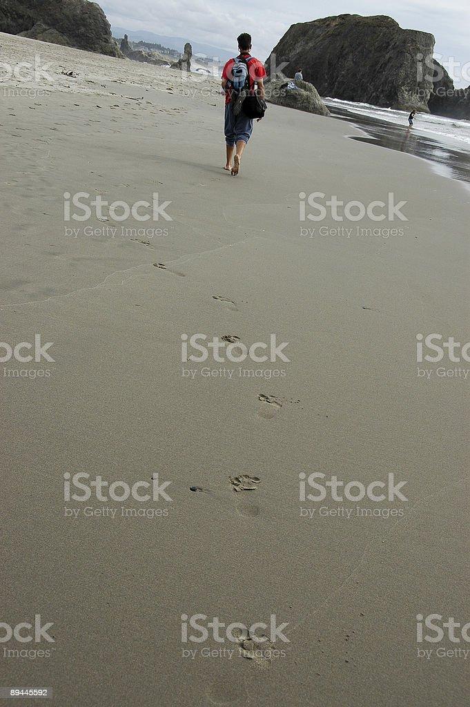 Hiking on an Oregon Beach royalty-free stock photo