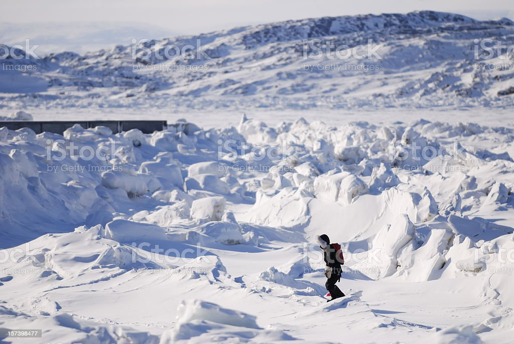 Hiking on Ice, Baffin Island. stock photo