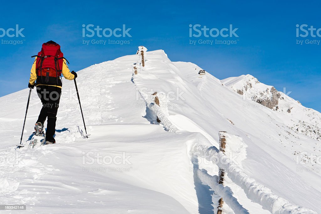 Hiking on Monte Baldo In Winter royalty-free stock photo