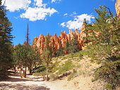 Hiking on Queen's garden trail and Navajo loop in Bryce Canyon National Park, Utah, USA