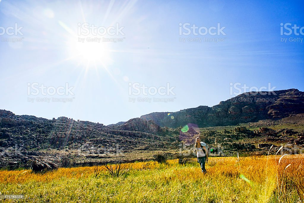 Hiking on sunny day royalty-free stock photo