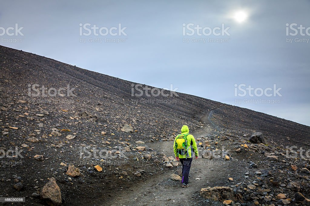 Hiking on the Hverfjall crater stock photo