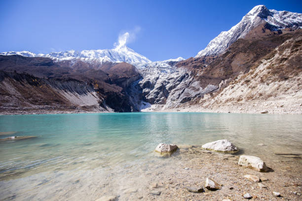 Hiking on the Manaslu circuit at Birendra Lake stock photo