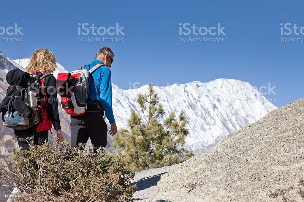 Hiking on Tilicho Trek, Nepal royalty-free stock photo