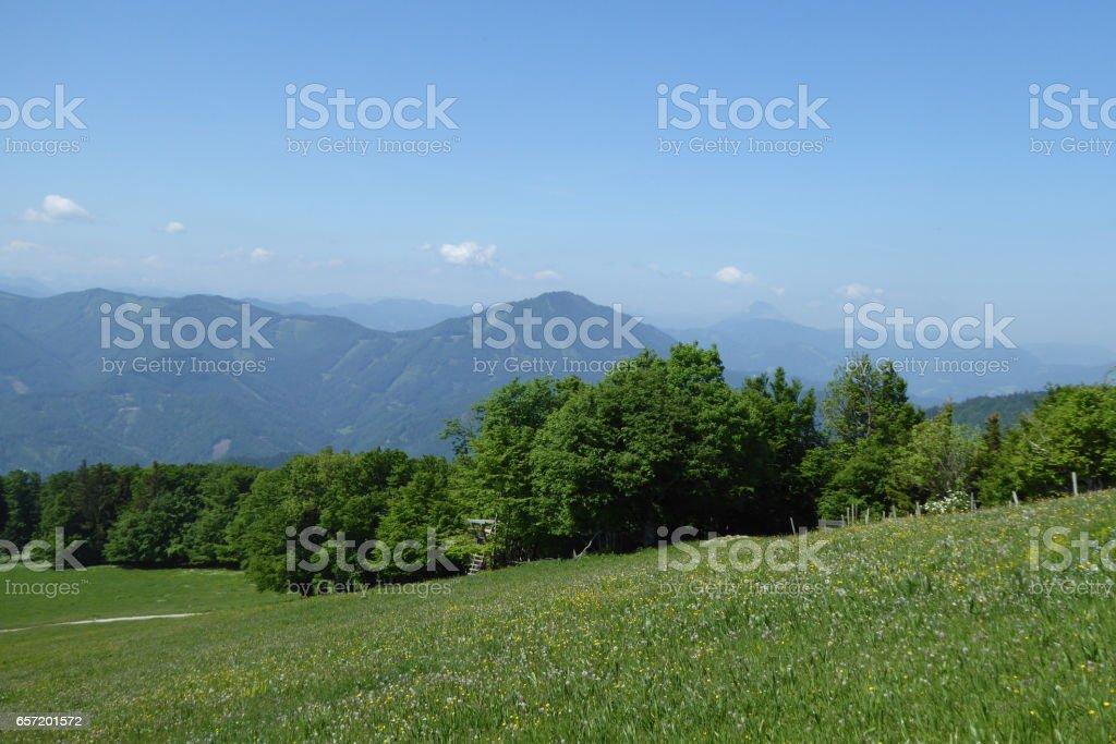 Hiking onto Reisalpe, Lower Austria stock photo