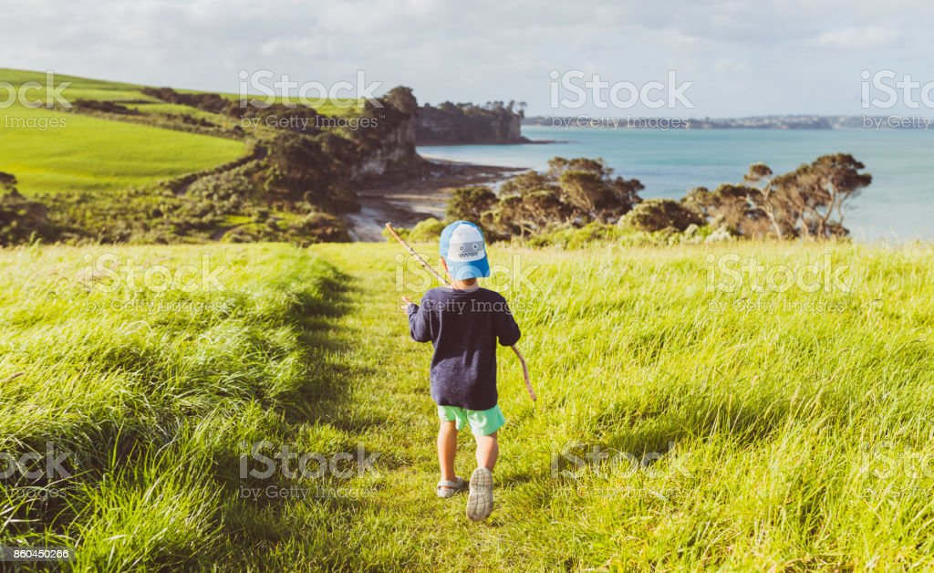 Hiking outdoor with kids. stock photo