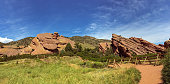 Hiking path around rock formations at Red Rocks Park and Ampitheatre