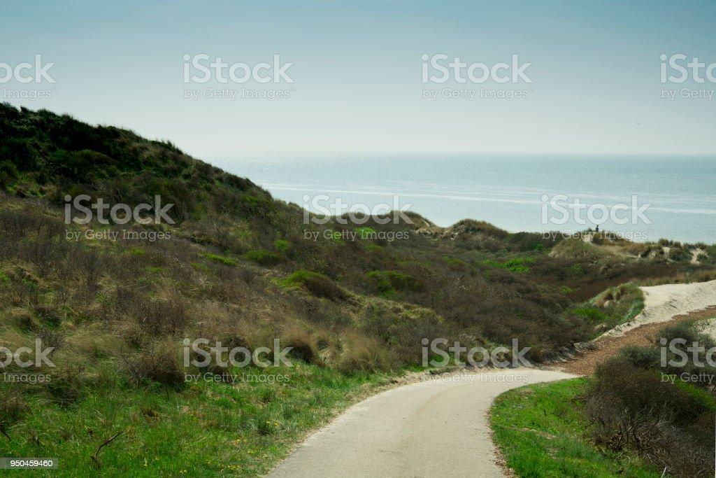 hiking path dune landscape, beach Burgh Haamstede, The Netherlands stock photo