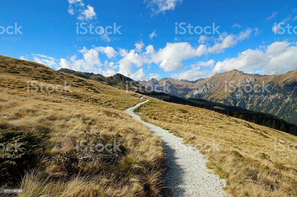Hiking path in South Tyrol / Italy stock photo