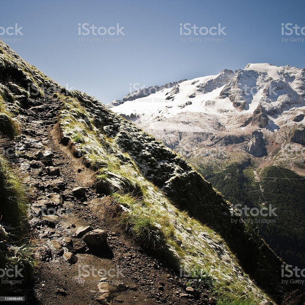 Hiking Path in the Italian Alps, Dolomites, Mount Marmolada royalty-free stock photo