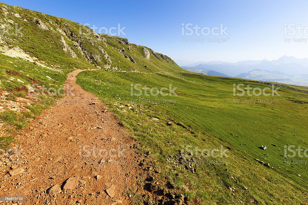 Hiking Path in the Italian Alps, Dolomites royalty-free stock photo