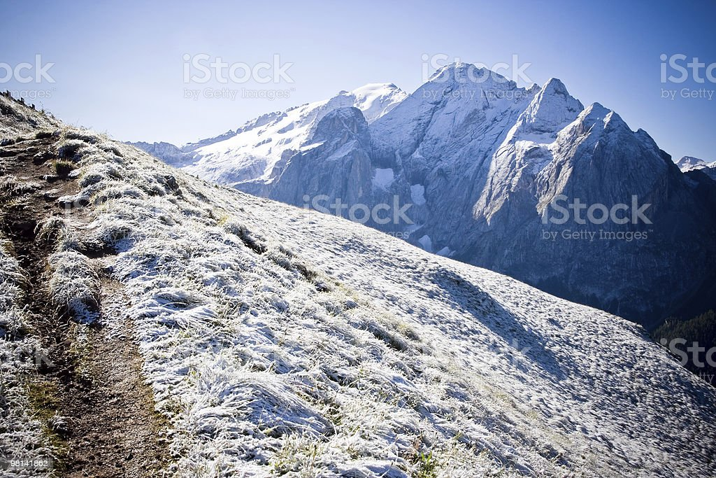 Hiking path in winter royalty-free stock photo