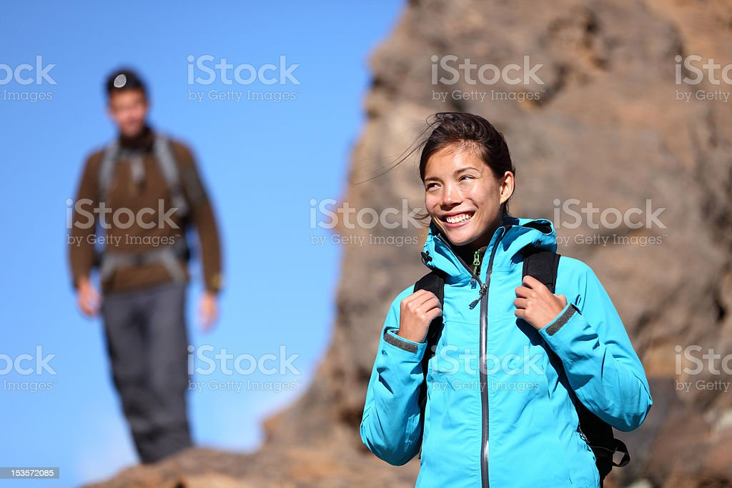 Hiking people - woman outdoors portrait royalty-free stock photo