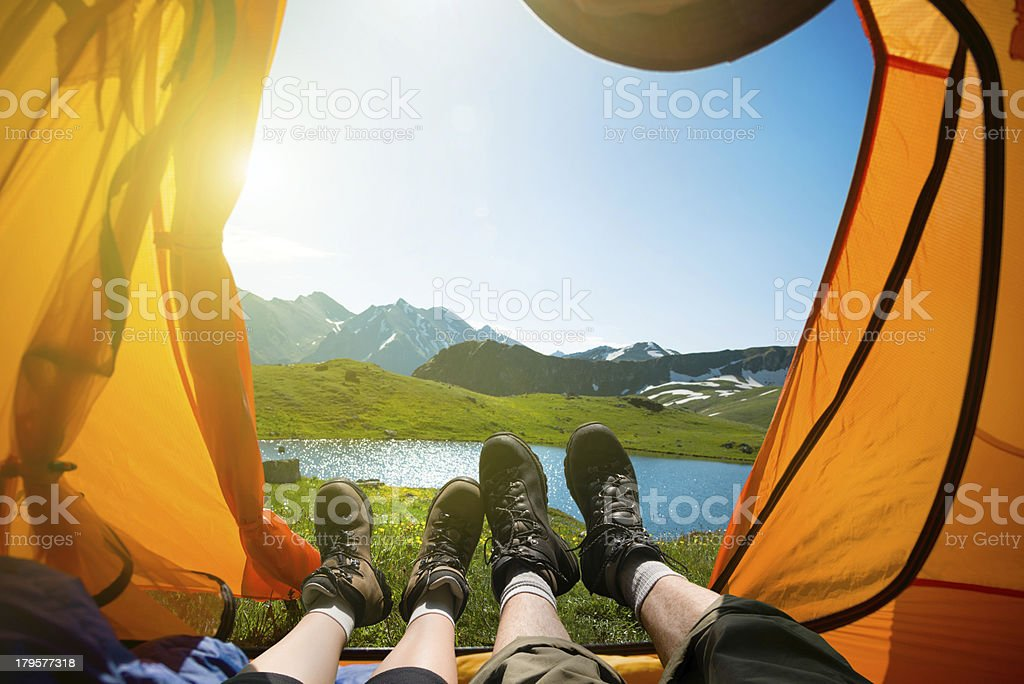 hiking hiking in mountains Activity Stock Photo
