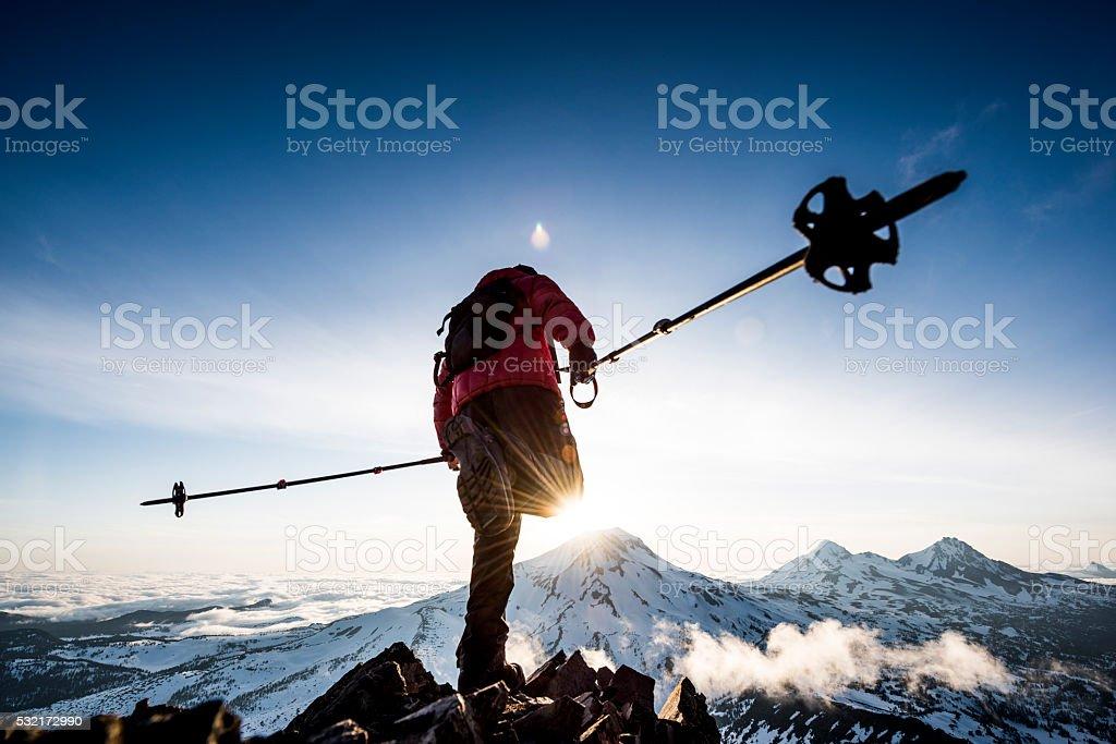 hiking poles stock photo