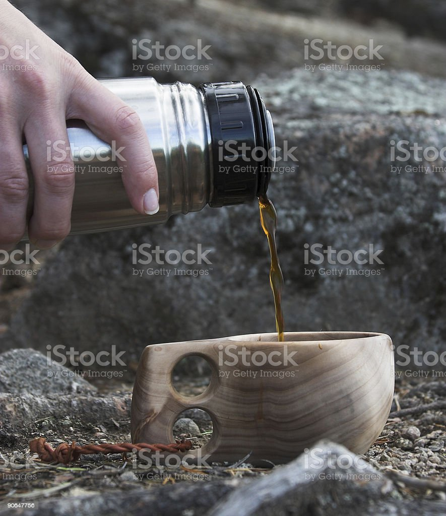 Hiking powered by coffee royalty-free stock photo