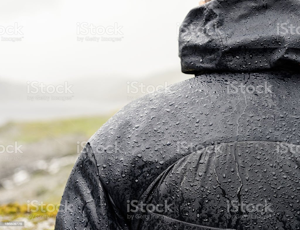 Hiking: Protected from the rain stock photo