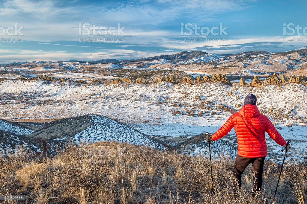 hiking Rocky Mountains foothills stock photo