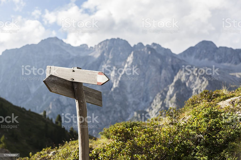 Hiking route indicator. stock photo