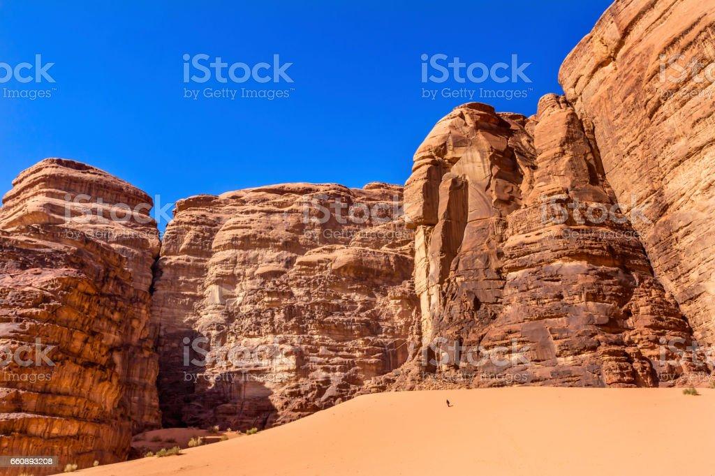 Hiking Sand Barrah Siq Valley of Moon Wadi Rum Jordan stock photo