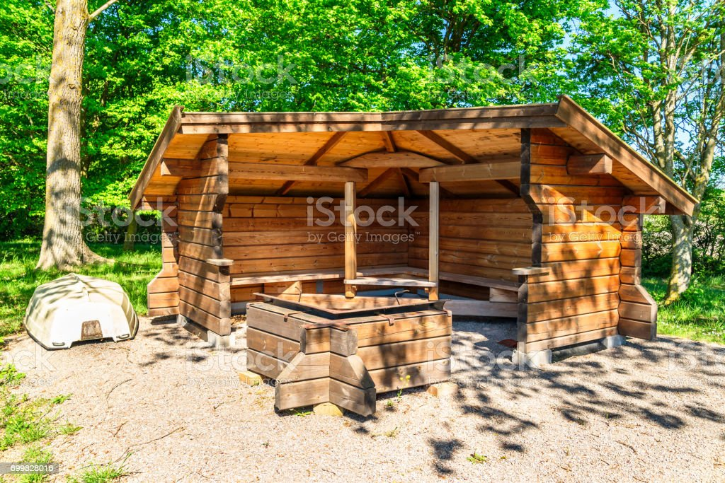 Hiking shelter stock photo