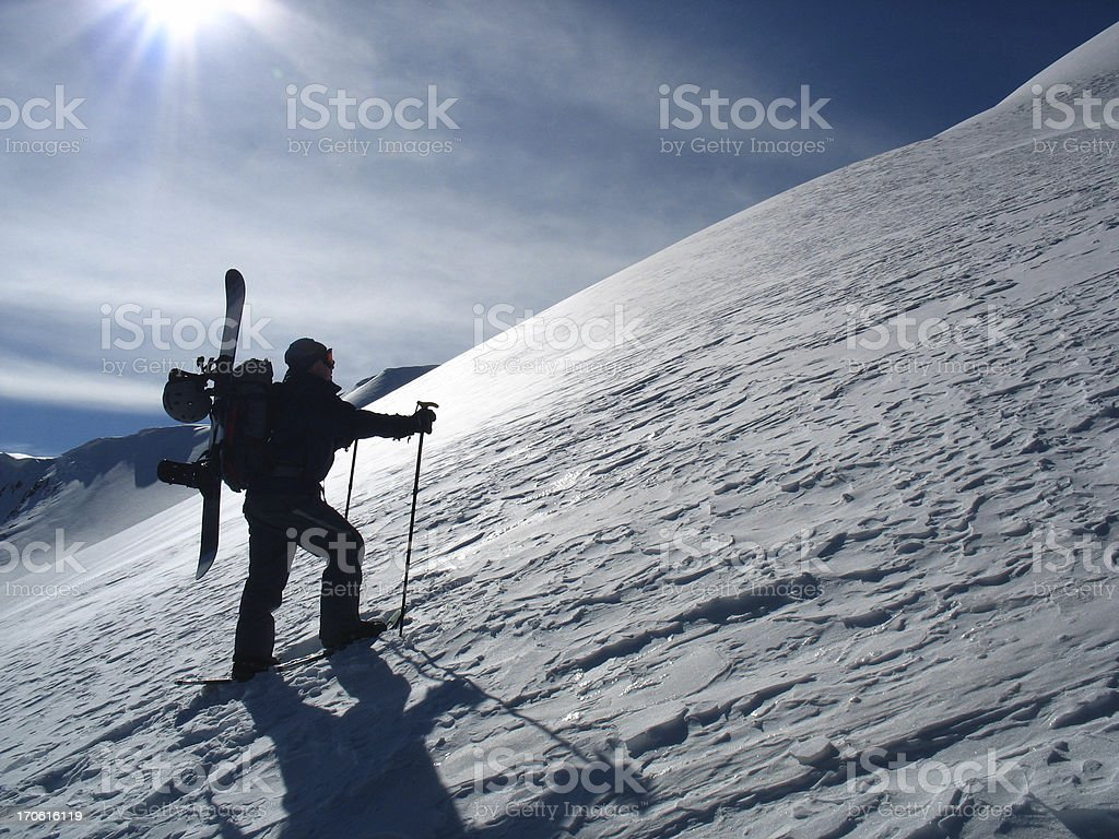 Hiking Snowboarder royalty-free stock photo
