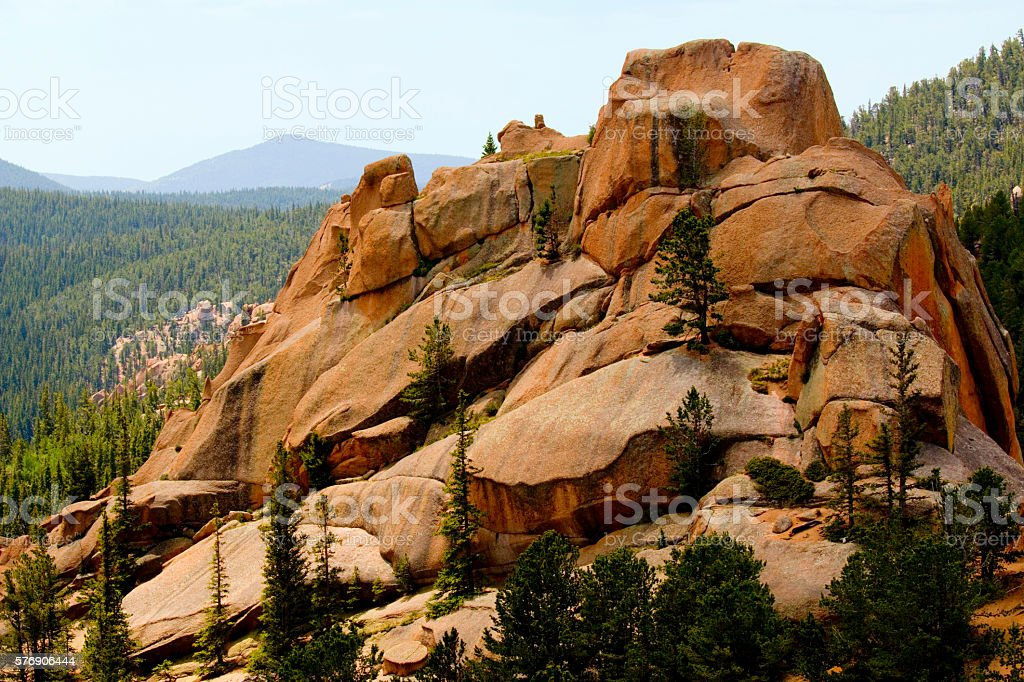 Hiking the Crags on Pikes Peak stock photo
