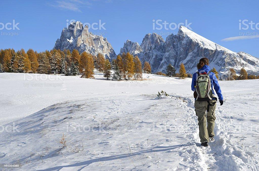 Hiking the Dolomites in autumn stock photo