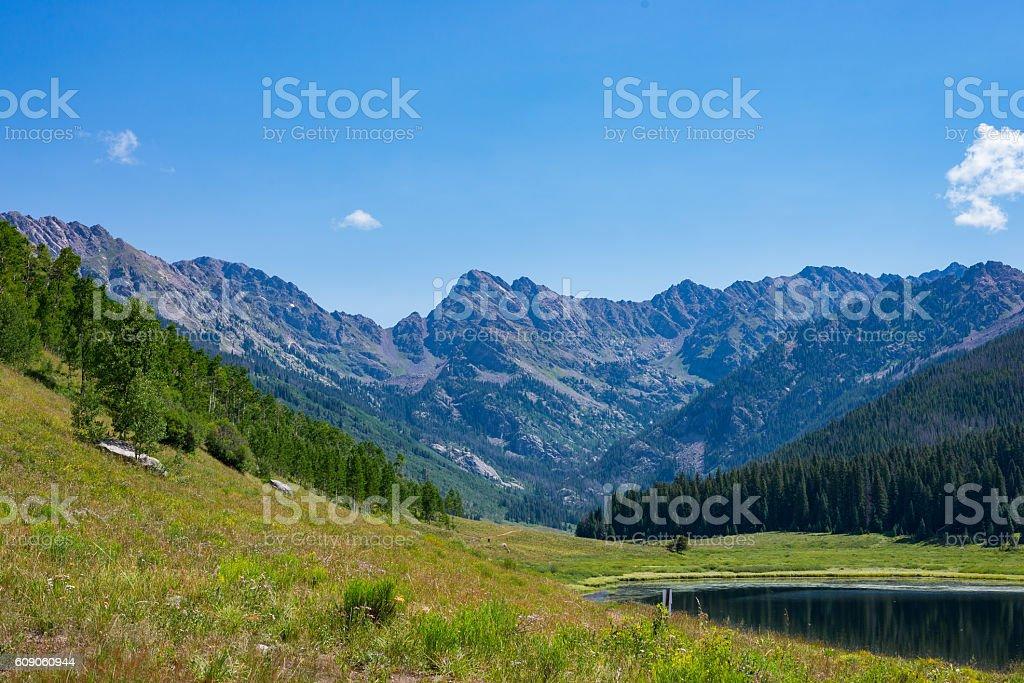 Hiking the high peaks stock photo