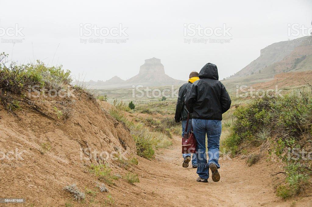 Hiking the Oregon Trail at Scottsbluff stock photo