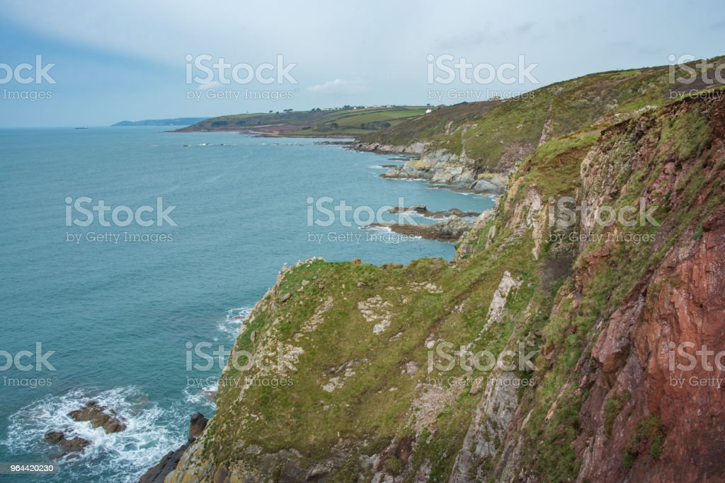 Hiking the South West Coastal Path in Devon, UK. - Royalty-free Agricultural Field Stock Photo