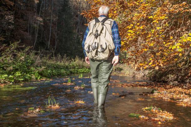 Hiking through the creek. stock photo