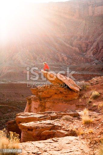 Hiking through the desert on BLM land in Utah outside of Moab at Sunset