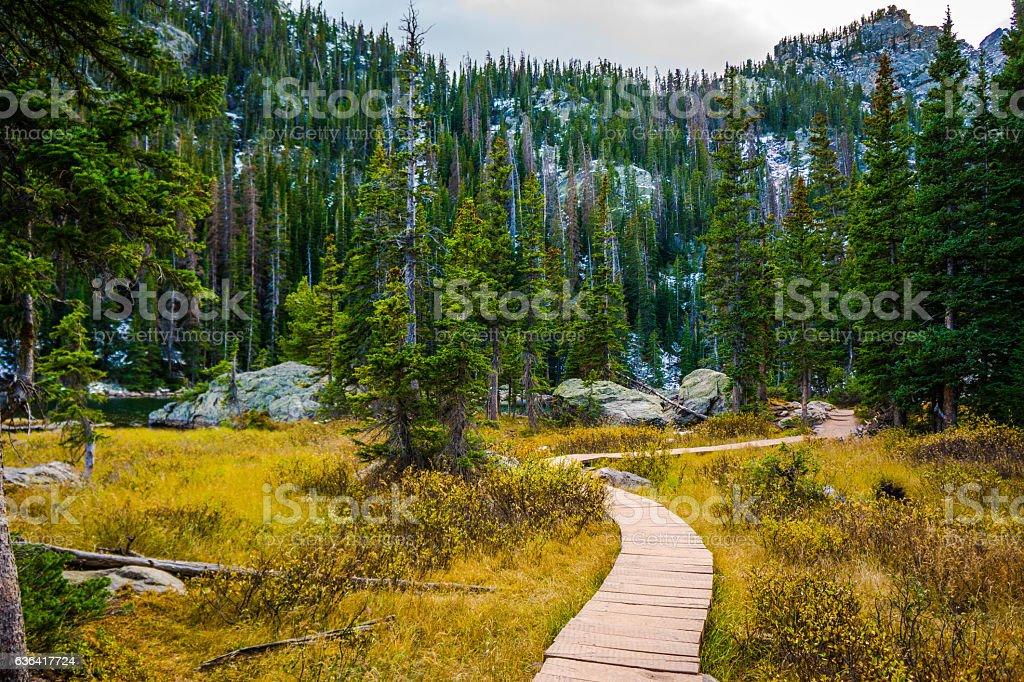 Hiking through the Mountains stock photo
