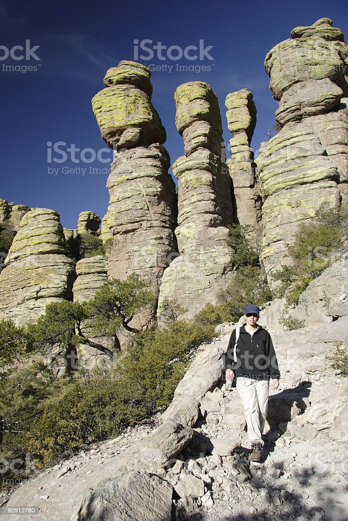 Hiking Through Unique Rock Formations stock photo
