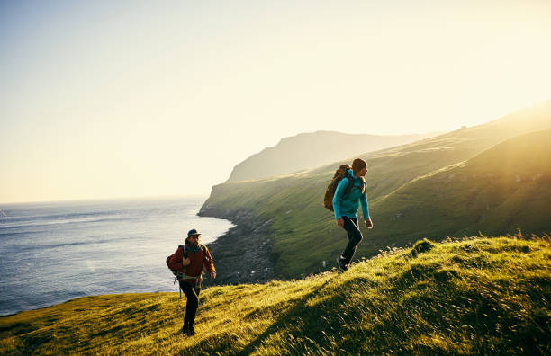 Hiking to greater destinations stock photo